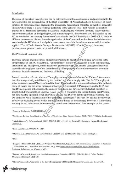 Negligence Essay by Torts Essay Causation In Negligence 70311 Torts Thinkswap