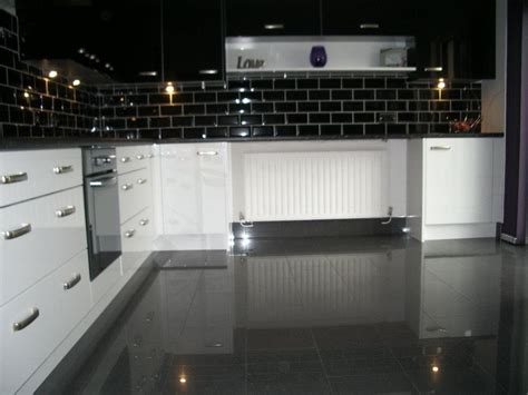 Large Black Gloss Floor Tiles using high gloss tiles for kitchen is interior