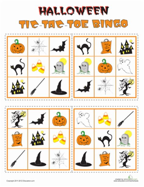 printable halloween board game esl play halloween tic tac toe bingo worksheet education com