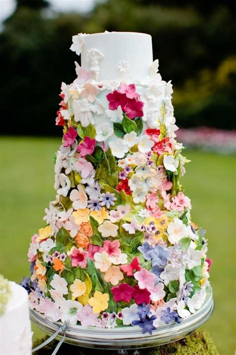 Backyard Wedding Cake Ideas by Secret Garden Cake Decorated With The Beautiful Ribbon