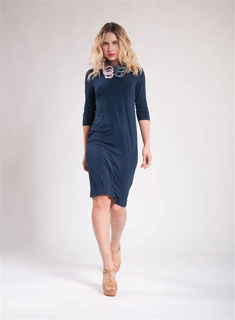 boat neck dress with 3 4 sleeves dress boat neck midi 3 4 sleeves 50 50
