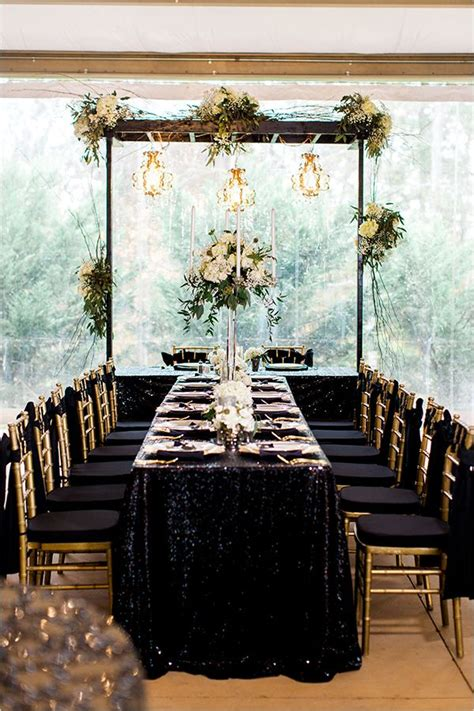 black and gold wedding in inspiration for your wedding rectangle wedding tables
