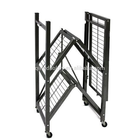 Metal Storage Rack Heavy Duty Folding Metal Storage Rack Shelf With Wheels
