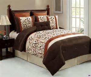 rust colored comforter sets 8 pc chocolate brown rust beige embroidered
