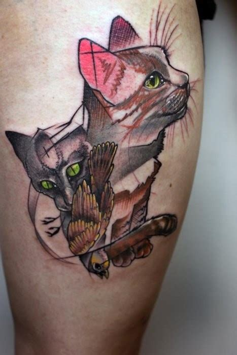 cat and bird abstract tattoo tattooimages biz