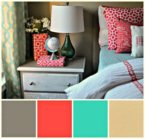 coral and turquoise bedroom herringbone pattern painted accent wall using tape