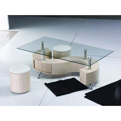 s shape glass top beech coffee table with storage 6944