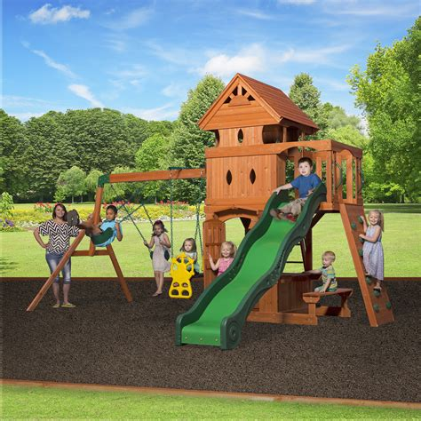 backyard swing set backyard discovery monterey all cedar swing set reviews