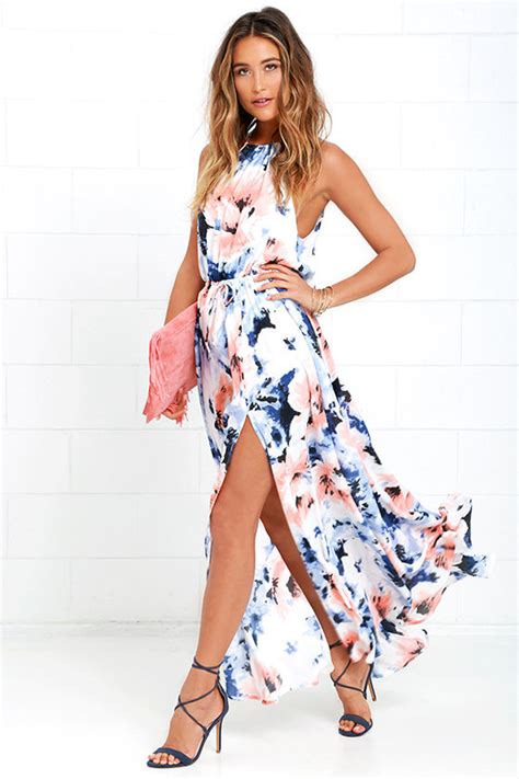 Drss 962 Flowy Roses Maxidress floral print dress maxi dress and blue dress