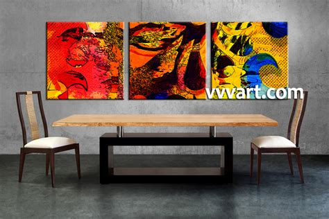 piece abstract colorful oil paintings decor