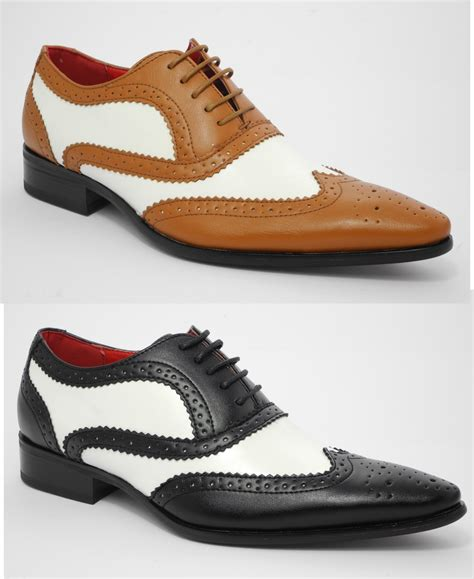 great shoes mens leather look spats brogues gatsby shoes black white