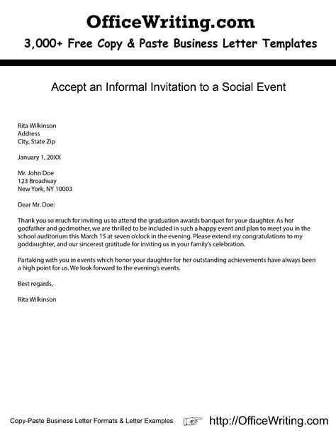 sle letter for acceptance of invitation to social event accept an informal invitation to a social event we