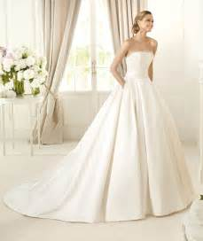 Line strapless beading pockets sweep brush train satin wedding dresses