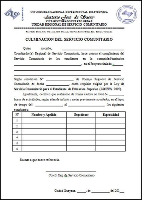 Carta De Culminacion De Servicio Comunitario manual de normas y procedimientos para la unidad central de servicio comunitario unexpo p 225