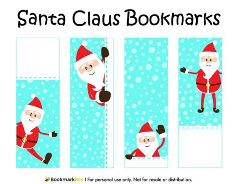 printable bookmarks for christmas free printable santa claus bookmarks for christmas