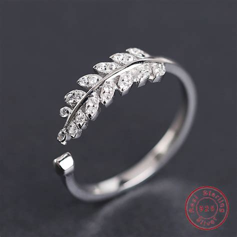 Silver Rings Designs For by Real 925 Sterling Silver Ring For New Design Leaves