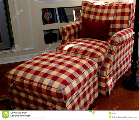 plaid chair and ottoman lounge chair royalty free stock photos image 91638