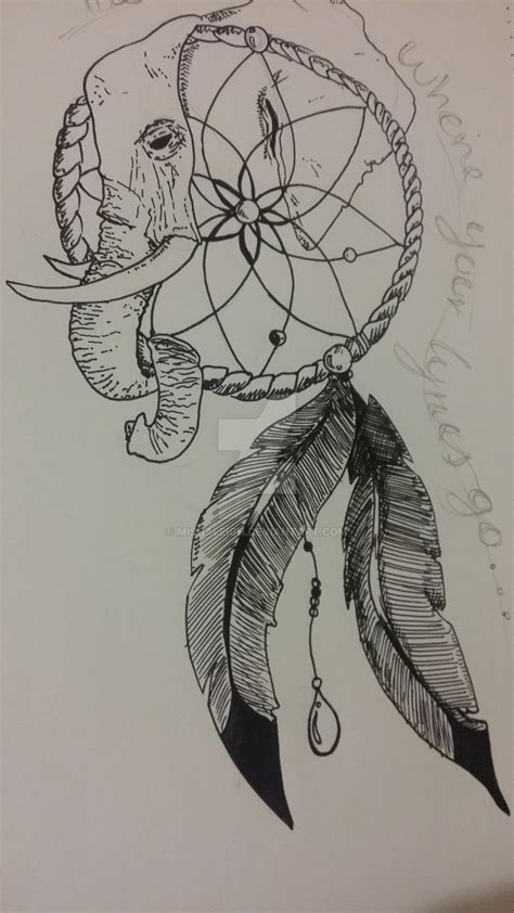 elephant tattoo with dream catcher elephants ear dream catcher by mishaleigh on deviantart