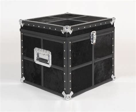 Cowhide Storage Trunk gordano black cowhide storage trunk