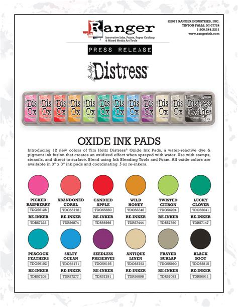 distress ink color chart 12 new distress oxide colors tim holtz