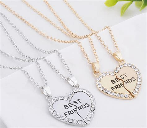 Broken Best Necklace Kalung Pasangan Silver 1 best friend forever series two color gold and silver broken pendant necklace one