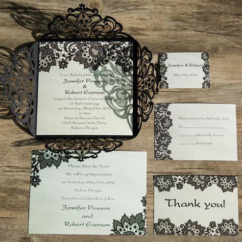 elegant black lace pattern laser cut wedding invitations