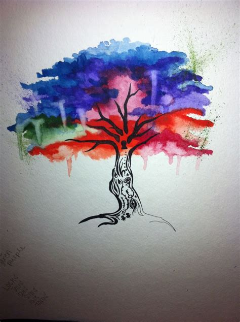 tattoo idea watercolor tree tattoos pinterest