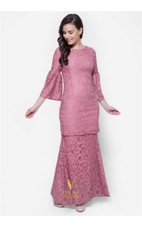 Baju Kurung Cotton baju kurung moden lace vercato nora in dusty pink baju kurung lace design modern