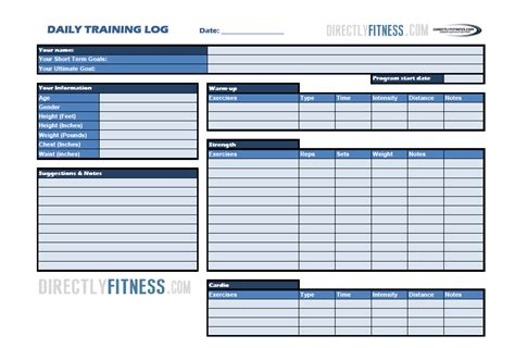 fitness log template printable workout log template