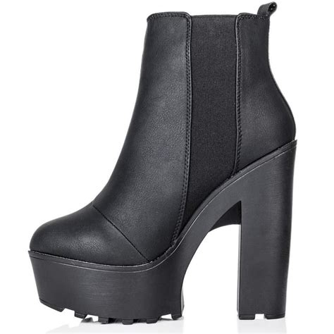 black high block heel ankle boots parisia fashion