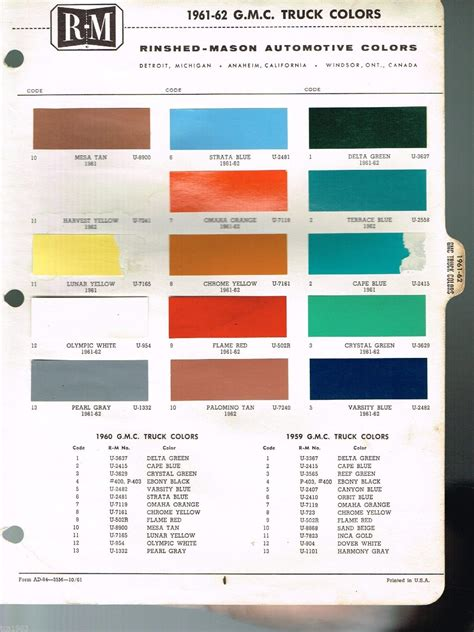 what color is a truck 1961 1962 gmc truck color chip paint sle brochure chart