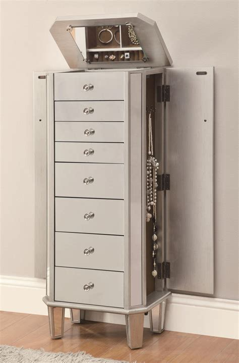 Silver Jewelry Armoire by Silver Glass Jewelry Armoire A Sofa Furniture Outlet Los Angeles Ca