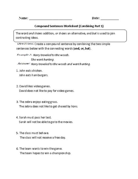 Combining Sentences Worksheet by Compound Sentences Worksheet Combining Part 1 Intermediate