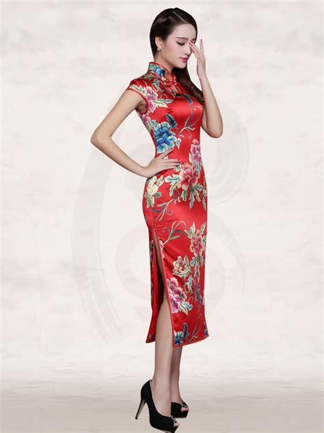 cap sleeve flower silk cheongsam mandarin collar cap sleeve peony floral silk wedding