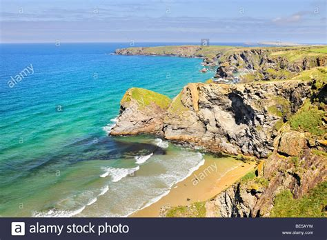 coastal landscape with bay in newquay on the coast