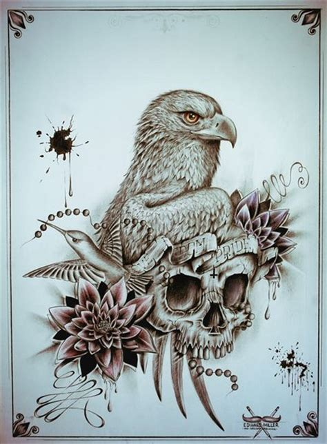 eagle tattoo with skull meaning 17 best images about edward miller tattoo designs on