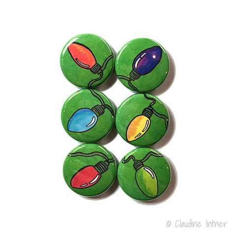 christmas pins or magnets 1 inch holiday light magnets or
