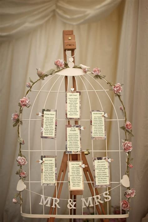 wedding table plan birdcage shabby chic vintage with heart pegs table plans wedding