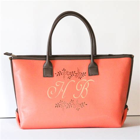monogram tote bag monogrammed purses vegan leather tote bag