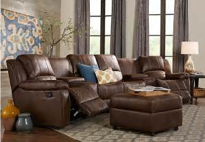 Brown Living Room Furniture Sets Saybrook Brown 6 Pc Reclining Sectional Living Room Living Room Sets Brown