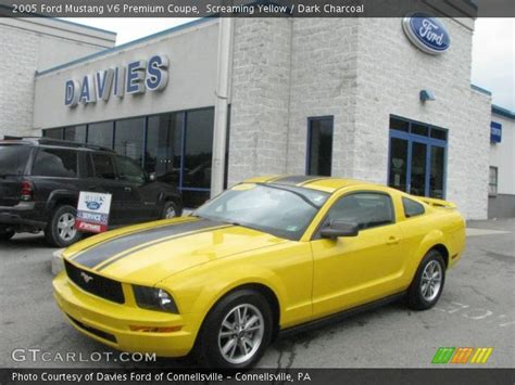2005 ford mustang yellow screaming yellow 2005 ford mustang v6 premium coupe