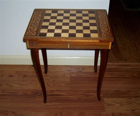 Checkers Table by Antique Italian Made Checkers Chess Table