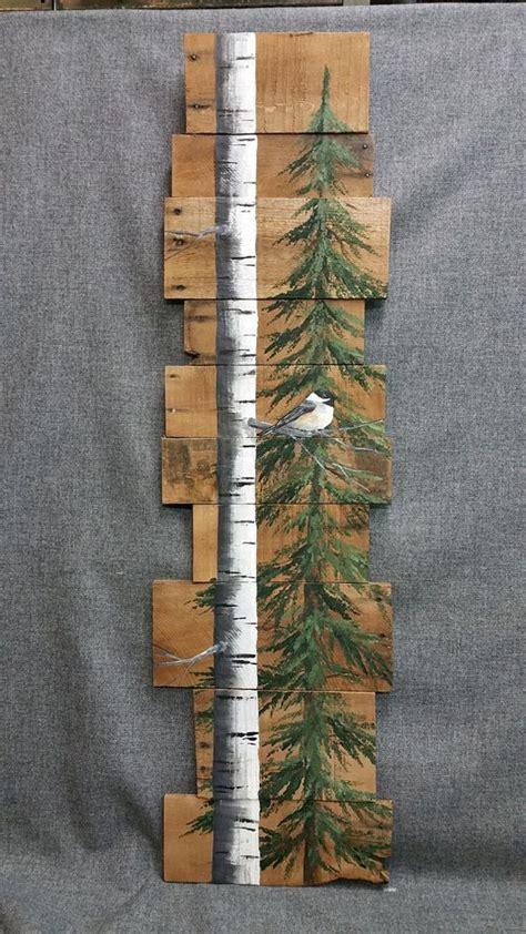 painted wooden trees wood pallet white birch pine tree reclaimed painted white birch chickadee bird