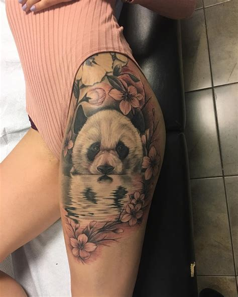 panda amp plum blossom on girls hip best tattoo design ideas