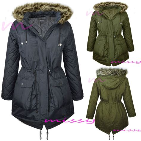 Jaket Winter Winter Coat Jaket Parka 24 new womens padded fishtail parka jacket winter coat plus size 18 20 22 24 ebay