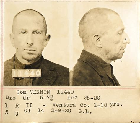 Eastern State Penitentiary Inmate Records Scvhistory 1929 Saugus Robber Tom Vernon Mugshots Prison Records