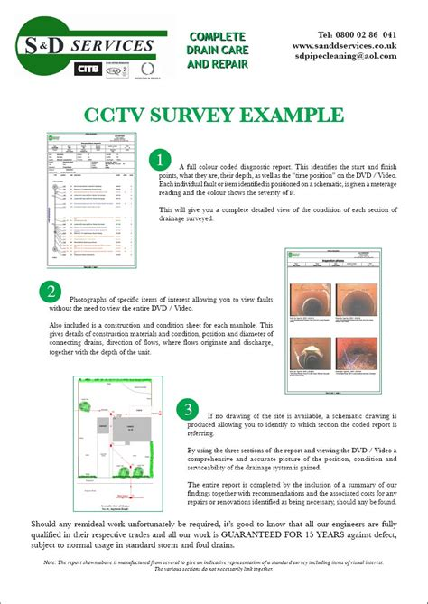 drainage report template cctv surveying s d plumbing and drainage somerset