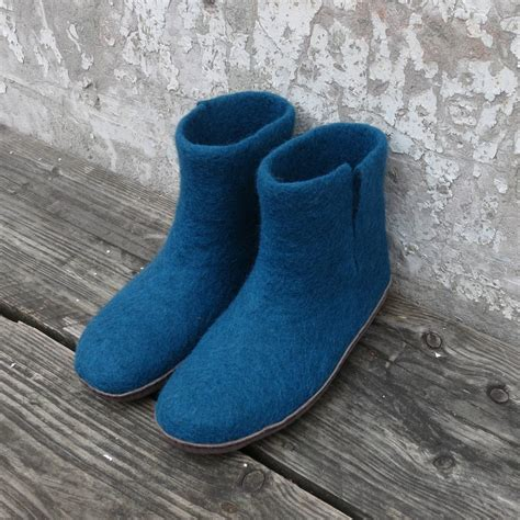 slipper boots with sole bidi handmade felt slipper boots with suede sole by aura