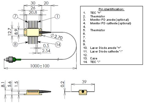 pin configuration of diode fiber coupled laser diode 500mw