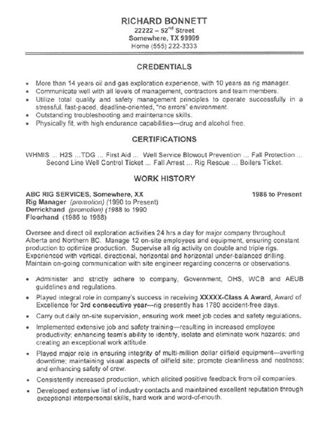 rig manager resume sle all trades resume writing